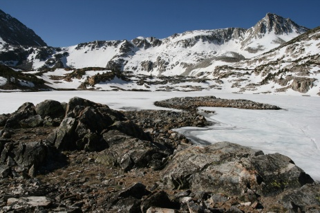 Saddlerock Lake, CA remains frozen into late May in the high Sierras