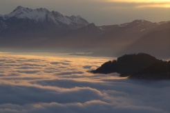 High fog settles in on Switzerland for the winter. The sad grey weather below is made up for by fantastic views above.
