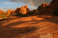 Red rock sunset in Arches National Park, Utah