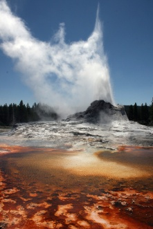 Algae patterns around an erupting Castle Geyser, Yellowstone National Park, Wyoming